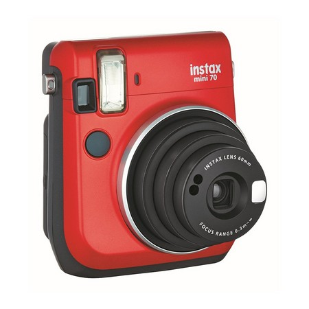 Fujifilm Instax Mini 70 Kamera Front (inkl. Batterien und Trageschlaufe) Sofortbildkamera rot – Polaroid