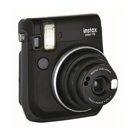 Fujifilm Instax Mini 70 Kamera Front (inkl. Batterien und Trageschlaufe) Sofortbildkamera schwarz – Polaroid