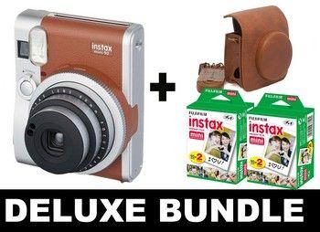 Fujifilm Instax Mini 90 Neo Classic Polaroid Kamera - Bundle - Sofortfilm und Ledertasche