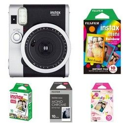 Fujifilm Instax Mini 90 Neo Classic Polaroid Kamera - Bundle - Sofortfilm und Ledertasche Spar Angebot